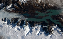 Preview wallpaper Patagonia, snow, earth, view from space