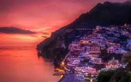 Positano, Italia, mar, costa, casas, luces, noche, cielo rojo