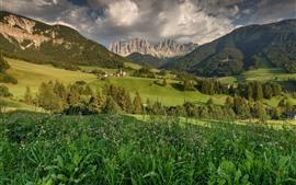 壁紙のプレビュー サンタマグダレナ、イタリア、ドロミテ、山、家、木、野原