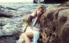 Preview wallpaper Sea, coast, rock, girl, white skirt, roses