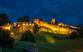 Serbia, Belgrade Fortress, slope, trees, lights, night