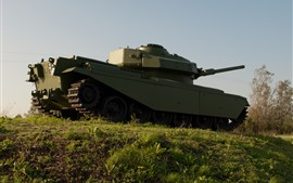 Tank, green, grass, trees, weapon