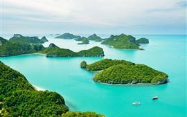 Aperçu fond d'écran Thaïlande, Phuket, mer bleue, bateaux, îles
