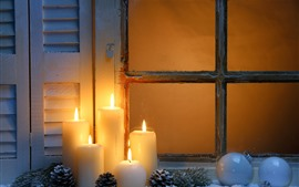 White candles, flame, window, Christmas balls