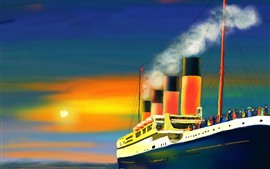 Art painting, ship, smoke, passengers, sea, sun