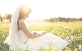 Preview wallpaper Beautiful bride, girl, wildflowers, sunshine, romantic