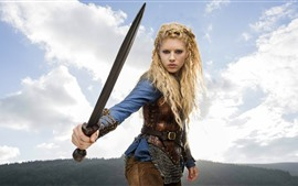 Preview wallpaper Blonde girl, sword, hairstyle, sky, clouds
