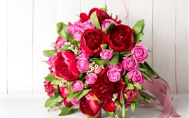 Bouquet, flowers, pink roses, red peonies