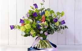 Preview wallpaper Bouquet, purple and green flowers