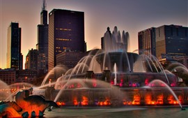 Preview wallpaper Chicago, fountain, buildings, dusk, city, USA