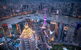Preview wallpaper China, Shanghai, skyscrapers, evening, city, river, lights