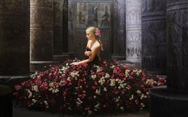 크리 에이 티브 디자인, 금발 소녀, 꽃 치마