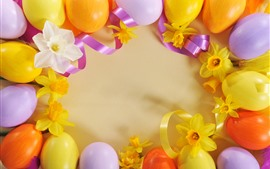 Preview wallpaper Easter eggs, ribbon, yellow flowers