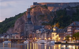 Preview wallpaper France, fortress, ships, river, bridge, lights, dusk