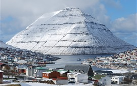 Preview wallpaper Friscia, Klaksvik, islands, mountain, snow, houses, boats, port