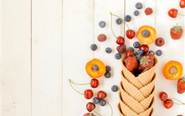Preview wallpaper Fruits, berries, wafer, cherry, blueberry, strawberry