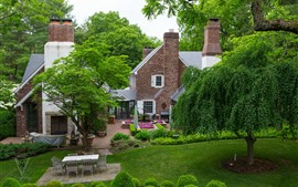 庭、木、草原、家