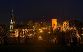 미리보기 배경 화면 독일, 나무, 집, 밤, 조명