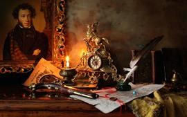 壁紙のプレビュー 銃、ペン、インク、時計、写真、本