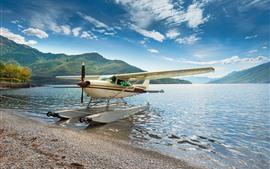 壁紙のプレビュー ハイドロプレーン、飛行機、翼、湖、レイクショア、山