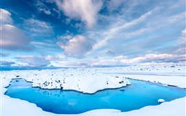 Preview wallpaper Iceland, snow, blue water, sky, white clouds
