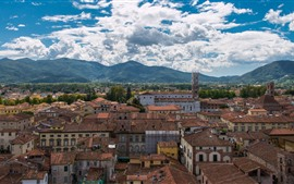 Italy, Tuscany, city, houses, mountains, sky, clouds