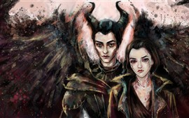 Preview wallpaper Maleficent, sorceress, wings, horns, girls, art painting