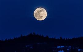Lua, noite, silhueta, céu