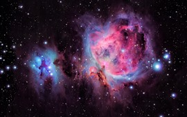 Orion Nebula, stars, purple space