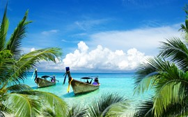 Preview wallpaper Palm trees, boats, sea, tropical, blue sky, white clouds