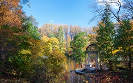 Preview wallpaper Park, pond, trees, autumn, USA