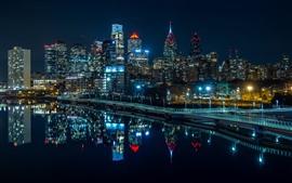 Филадельфия, ночь, огни, небоскребы, река, США