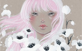 Preview wallpaper Pink hair girl, white flowers, art painting