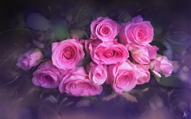 Pink roses, bouquet, texture