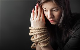 Preview wallpaper Sadness girl, hands, rope