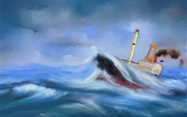 Preview wallpaper Sea, boat, sea waves, storm, oil painting