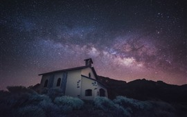 Preview wallpaper Stars, church, house, grass, night, space