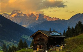 Preview wallpaper Switzerland, Alps, house, slope, trees, mountains, dusk