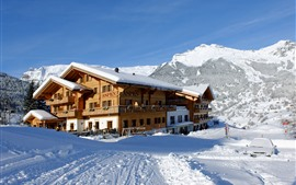 Preview wallpaper Switzerland, Beatenberg, mountains, snow, winter, hotel
