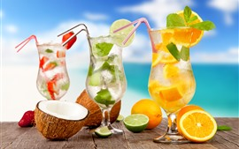 Preview wallpaper Three cups of cocktail, drinks, lemon, sea, tropical