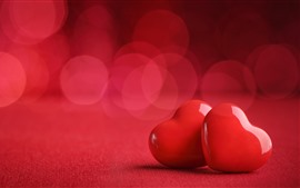 Preview wallpaper Two red love hearts, romantic, hazy