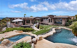 Preview wallpaper Villa, pool, house, sea, sky, clouds, tropical