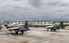 Preview wallpaper Airport, army, aircraft, helicopters, fighters