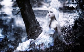 Preview wallpaper Asian girl, white hair, crown, art photography