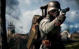Battlefield 1, солдат, пистолет, противогаза