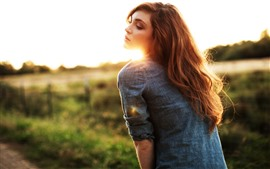 Preview wallpaper Brown hair girl, back view, sun rays, glare