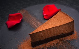 Preview wallpaper Chocolate cake, powder, rose petals