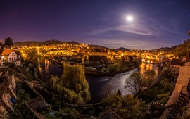 Preview wallpaper Czech Republic, night, moon, river, city, houses, lights