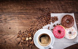 Preview wallpaper Donuts and coffee beans, cup