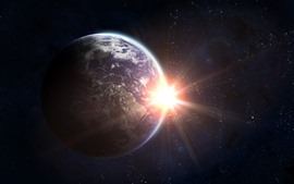 Preview wallpaper Earth, sun, glare, space